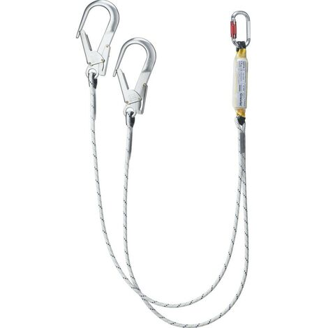 Cordino anticaduta a due punti di ancoraggio con assorbitore di energia. Lunghezza max 1,5 m inclusi connettori.