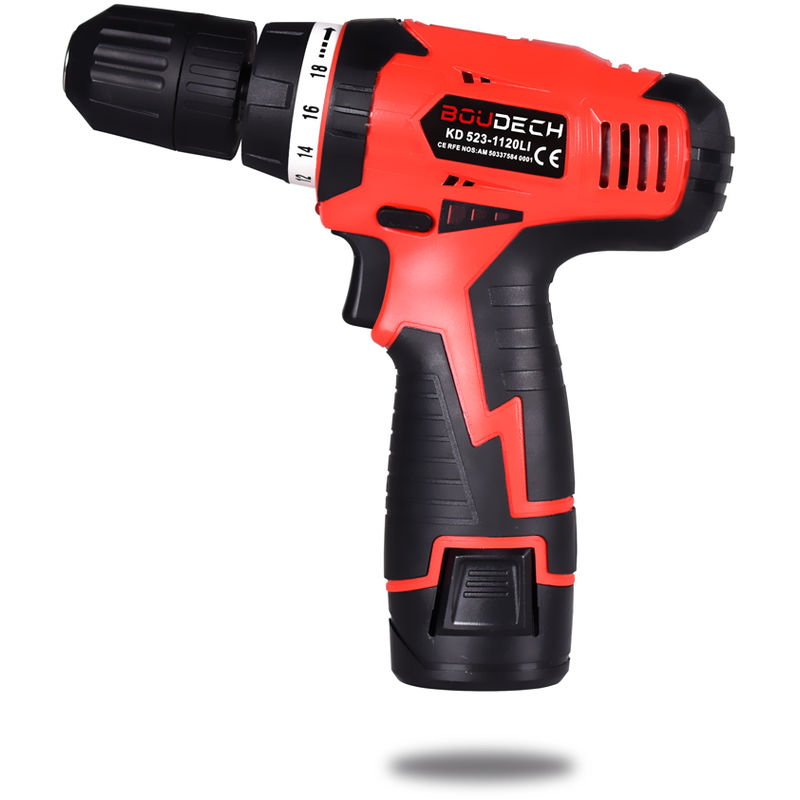 Cordless 12v lithium cordless drill with case and accessories