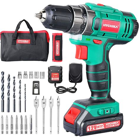 Cordless Drill Driver 12V, HYCHIKA Electric Drill 30N·m Max Torque with 1500mAh Li-Ion Battery, 1H Fast Charging, 4PCS Flat Drills, 6PCS Twist Drills, 6PCS Screwdriver Bits, 5PCS Sockets, Carrying Bag