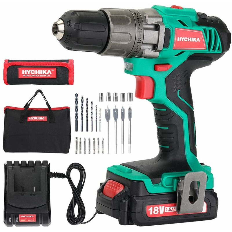 Image of Cordless Drill Driver 18V 35N·m Electric Drill with 1500mAh Li-Ion Battery, 21+1 Torque Setting and Variable Speed, 22PCS Accessories, 1H Fast