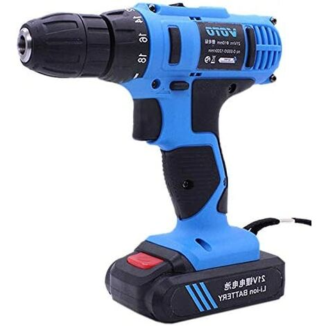 Cordless Drill Driver 21V Stepless Regulation Rechargeable Speed ​​Electric Hand Drill Set Electric Drill Tools with LED, AC 220 V, US Plug