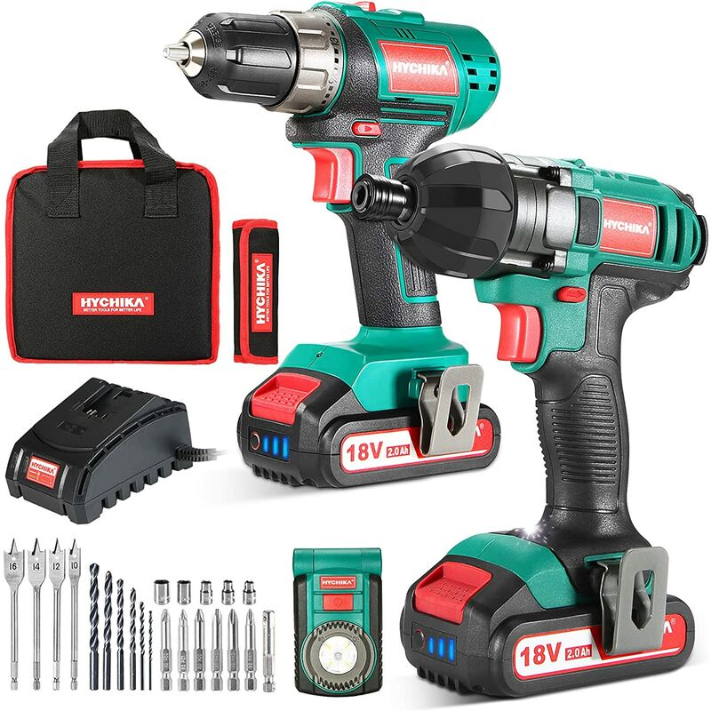 Image of Cordless Drill Driver and Impact Driver 18V Drill Combo Kit, 2x1.5Ah Batteries, 1H Fast Charging, 22PCS Accessories for Drilling Wood, Metal and
