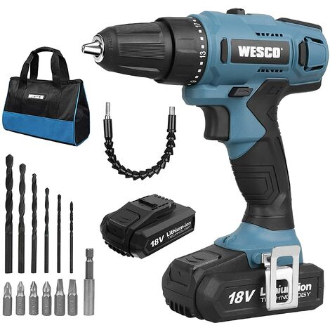 Cordless Drill, WESCO 18V 2.0Ah Drill Driver with Li-ion Battery and Charger, 21+1 Clutch, Variable Speed, 10mm Automatic Chuck, Carry Bag with 13 Piece Accessory Kit, LED Light, Belt Clip/WS2317.1