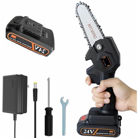 """main image of """"Cordless Electric Chainsaw, 10cm Mini Chainsaw, Small Household Portable Electric Saw, Rechargeable Battery Powered Chainsaw for Tree Branch Wood Cutting, Super Convenient Chainsaw"""""""