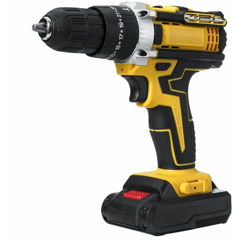 Cordless electric drill screw 48VF ??yellow, with 2 Li-Ion batteries