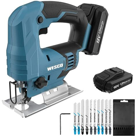 """main image of """"Cordless Jigsaw, WESCO 18V 2.0Ah Jigsaw with Li-ion Battery, LED Light, 2400SPM, Variable Speed, 24mm Stroke Length, 10Pcs Blades, Angled Cut ± 45 °, Tool-Free Blade Change and Fast Charger/WS2337"""""""