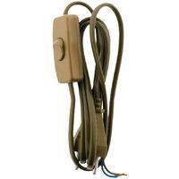 Cordon avec interrupteur pour luminaire 1,5m - couleur: Blanc, Noir ou Or