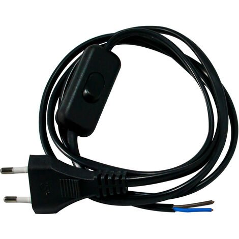 Cordon avec interrupteur pour luminaire 1,5m noir