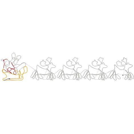 Cordon lumineux de Noël 4 rennes et traîneau 1548 LED 500x80 cm