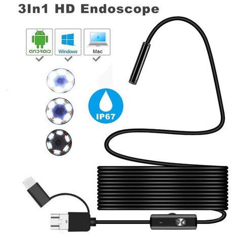 cordon souple de 5 m USB Android Endoscope HD 2 en 1 caméra d'inspection imperméable à l'eau Endoscope Rigide câble de Serpent