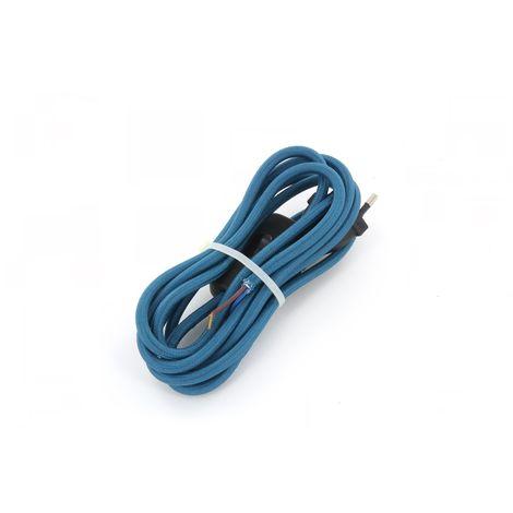 Cordon textile bleu paon avec interrupteur 2 m