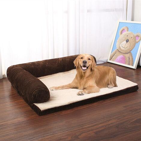 Corduroy Mattress Pet Bed Dog Cat Kitten Puppy Lounge Sofa Basket Coffee 105 x 90 x20 cm