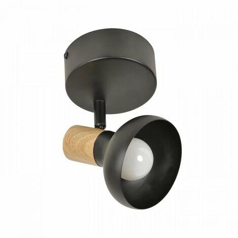 COREP Spot 1L Alvar bicolore en métal avec sticker effet bois - E14 40 W - Noir et naturel