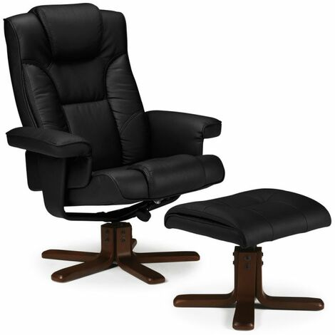 Corinne Faux Leather Swivel Recliner Chair & Stool Black