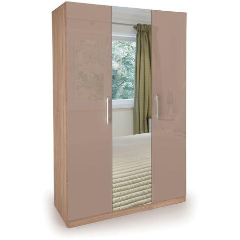 Corisal Wardrobe - Oak Mirrors 3 Doors