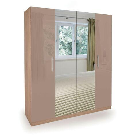 Corisal Wardrobe - Oak Mirrors 4 Doors