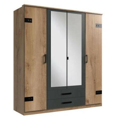CORK Armoire de chambre - Style Industriel - Décor chene et graphite - L 180 cm