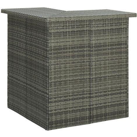Corner Bar Table Grey 100x50x105 cm Poly Rattan