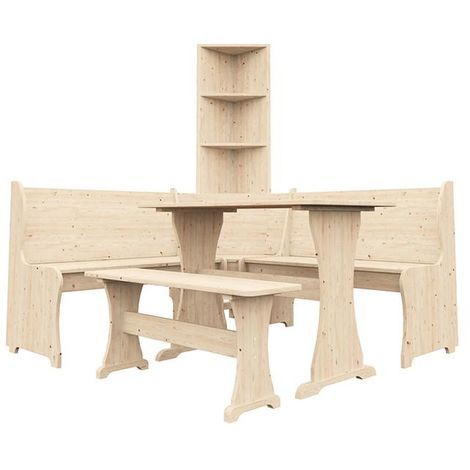 Corner Bench Dining Table Wooden Furniture Set Kitchen Seating with Bookshelf and Separate Bench
