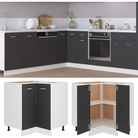 Corner Bottom Cabinet Grey 75.5x75.5x80.5 cm Chipboard