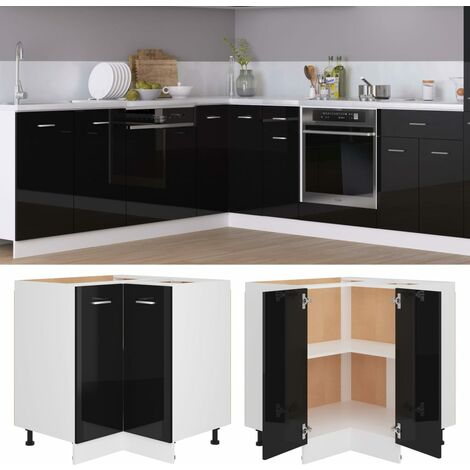 Corner Bottom Cabinet High Gloss Black 75.5x75.5x80.5 cm Chipboard