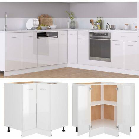 Corner Bottom Cabinet High Gloss White 75.5x75.5x80.5 cm Chipboard