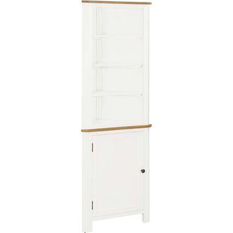 Corner Cabinet 59x36x180 cm Solid Oak Wood - White