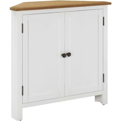 Corner Cabinet 80x33.5x78 cm Solid Oak Wood - White