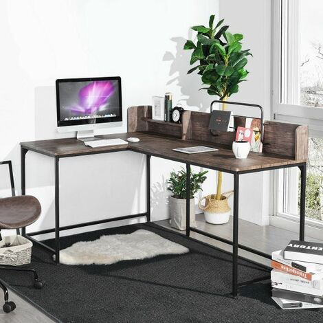 Corner Computer Desk , L-Shape Gaming Desks Laptop Computer Table with Double Shelf Space Saving Versatile Writing PC Workstation for Office Study 165x110x95cm
