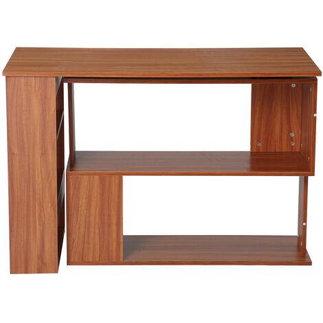 Corner Computer Desk L-Shaped Table 360¡ãRotating Storage Shelf Home Office