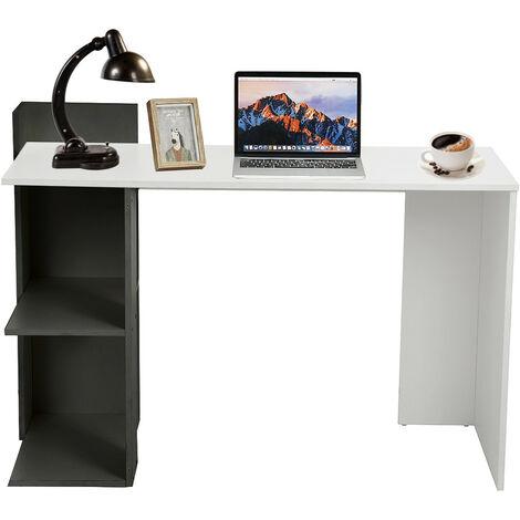Corner Computer Desk PC Table Workstation with 2 Shelves 118x57x84cm White+Black