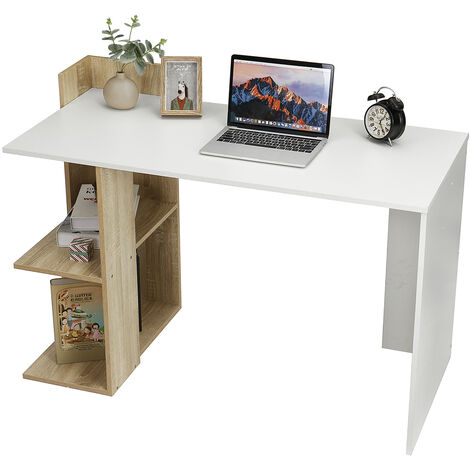 Corner Computer Desk PC Table Workstation with 2 Shelves 118x57x84cm White+Walnut