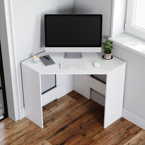 """main image of """"Corner Computer Desk White Workstation Home Study Office PC Table Furniture"""""""
