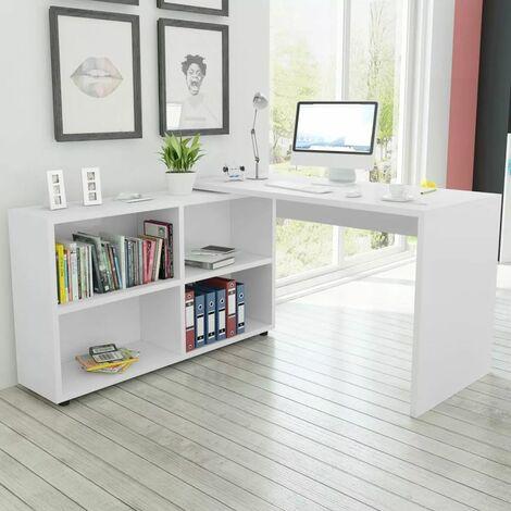 Corner Desk 4 Shelves White