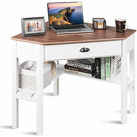 "main image of ""Corner Desk Computer Table Home Office Writing Workstation w/ Drawer & Shelves"""