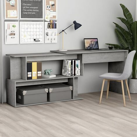 Corner Desk Concrete Grey 200x50x76 cm Chipboard - Grey