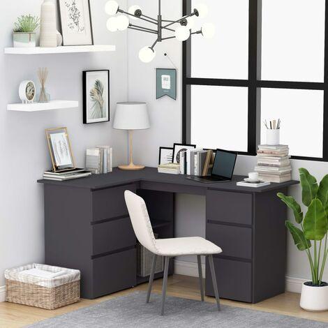 Corner Desk Grey 145x100x76 cm Chipboard