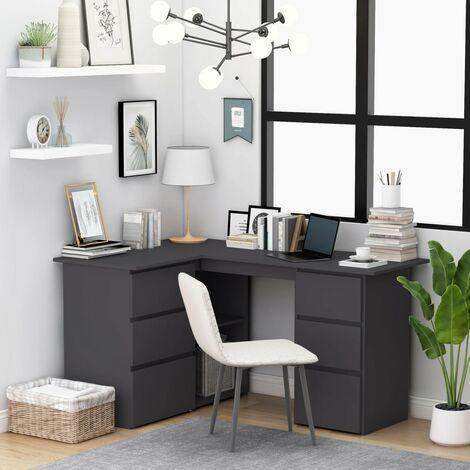 Corner Desk Grey 145x100x76 cm Chipboard - Grey