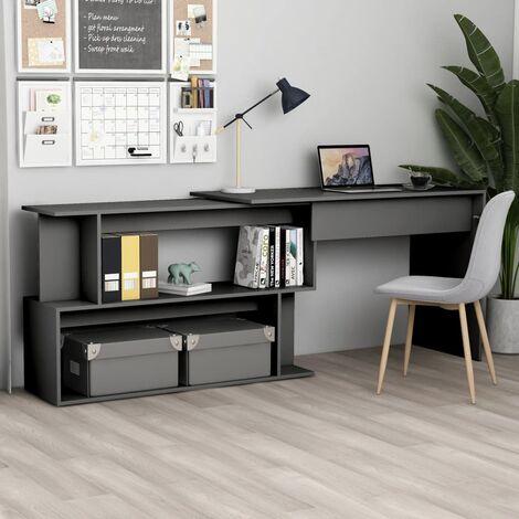 Corner Desk Grey 200x50x76 cm Chipboard - Grey