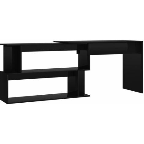 Corner Desk High Gloss Black 200x50x76 cm Chipboard