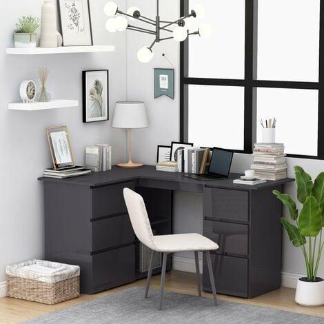 Corner Desk High Gloss Grey 145x100x76 cm Chipboard - Grey