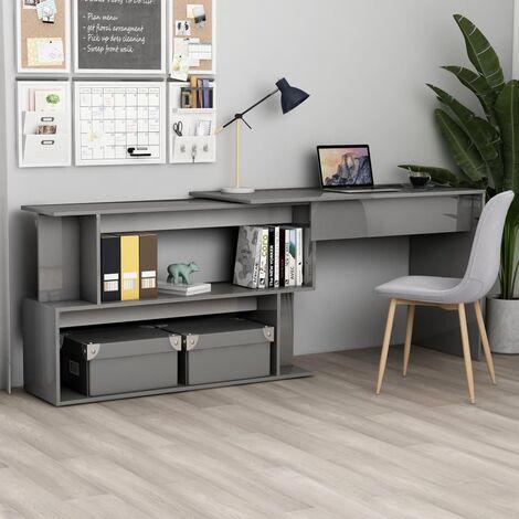 Corner Desk High Gloss Grey 200x50x76 cm Chipboard