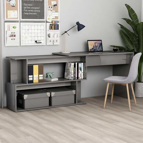 Corner Desk High Gloss Grey 200x50x76 cm Chipboard - Grey