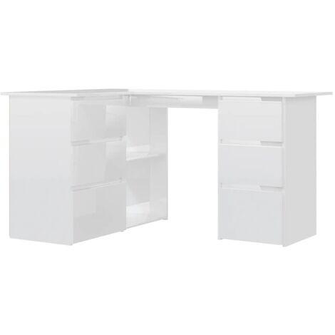 Corner Desk High Gloss White 145x100x76 cm Chipboard