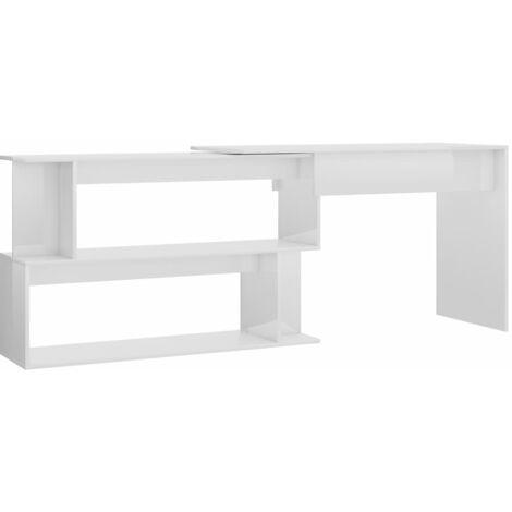 Corner Desk High Gloss White 200x50x76 cm Chipboard