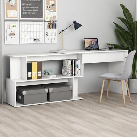 Corner Desk White 200x50x76 cm Chipboard