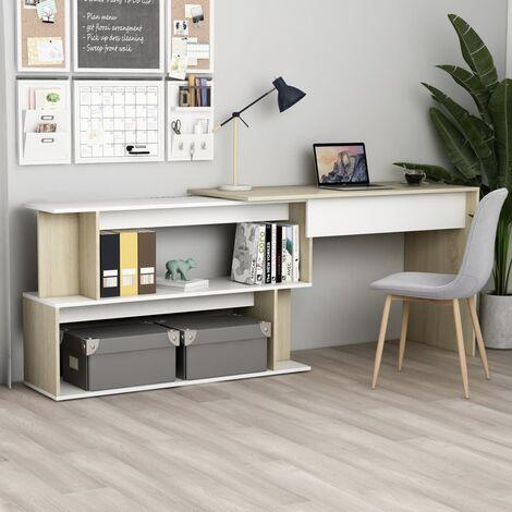 Corner Desk White and Sonoma Oak 200x50x76 cm Chipboard