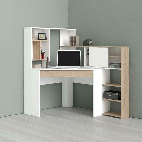 Corner desk with shelves, white and oak colour, 138.4 x 141.1 x 101.6 cm
