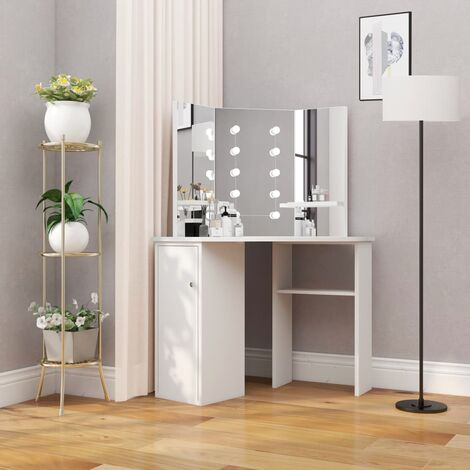 Corner Dressing Table Make-up Table with LED Light White