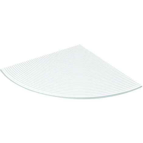 Corner glass shelf support in white stripes finish